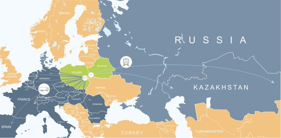 transportations from Europe to Kazakhstan